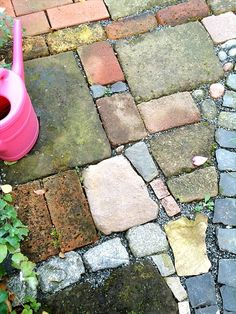 I've never been more secure than a PIN in my life ! mismatched paving stones for a rustic patio Do […] Farm Gardens, Outdoor Gardens, Rustic Gardens, Garden Paths, Garden Landscaping, Rustic Landscaping, Brick Garden, Paving Stones, Stepping Stones