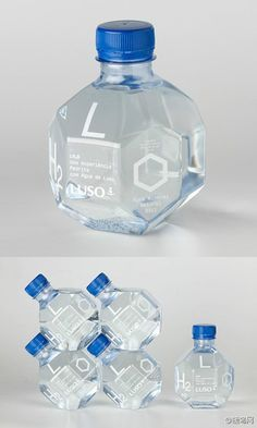 A great use of geometric form is found here in this bottle design. The many sides of this bottle design create a playful and intriguing aspect on the design. The shape of this bottle design is very eye catching and effective. Water Packaging, Cool Packaging, Bottle Packaging, Brand Packaging, Product Packaging, Design Packaging, Packaging Ideas, Plastic Packaging, Design Poster