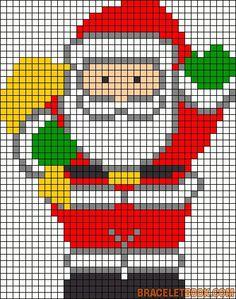 Risultati immagini per pixel art template christmas Santa Cross Stitch, Cross Stitch Charts, Cross Stitch Designs, Cross Stitch Patterns, Hama Beads Patterns, Beading Patterns, Embroidery Patterns, Loom Patterns, Bracelet Patterns