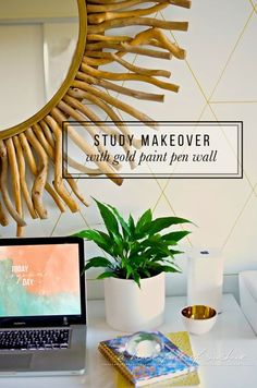Study makeover with gold paint pen wall