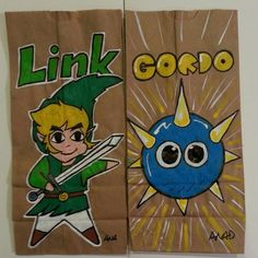 20130225 #ledgendofZelds#link#windwalker and #kirby#gordo#sketch #lunch #bag for my #sons. #art#anad#comic#cartoon#vintage#retro#paint#doodle#videogames#games#daily#family#school#eat#food#eachday#draw#pixel#marker