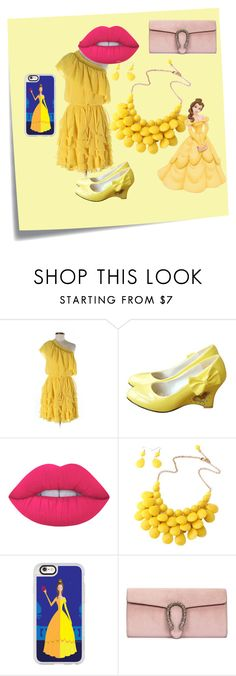 Inspired by Bella by sabri-lujan on Polyvore featuring moda, Jessica Simpson, Gucci, Casetify, Lime Crime, Post-It, Disney and thebeautyandthebeast