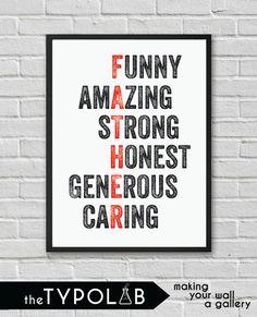 Typography Poster Art Print/ Funny Amazing Strong by theTypolab Typography Poster, Strong, Art Prints, Amazing, Funny, Handmade Gifts, Kids, Etsy, Art Impressions