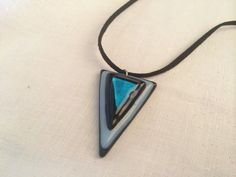 Blue & Black Triangle Pendant Necklace Jewelry by TheJewelryBoxe