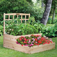 Raised Garden Bed with Trellis.Wonder if I could get the hubby to build something like this for me