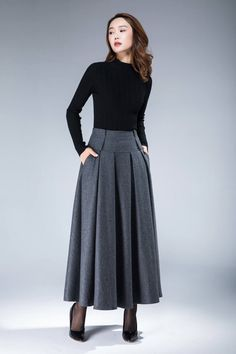 skirt wool skirt winter skirt vintage skirt warm skirt winter skirt maxi skirt skirt with pockets custom skirt for women 1857 Pleated Skirt, Dress Skirt, High Waisted Skirt, Maxi Skirts, Vintage Rock, Vintage Winter, Vintage Style, Modest Fashion, Fashion Dresses