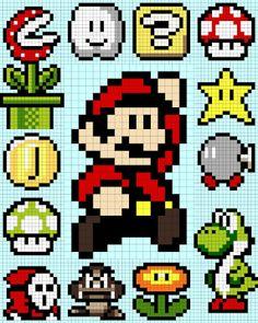 Mario Bros x-stitch Mario Crochet, Pixel Crochet, Crochet Chart, 8 Bit Crochet, Beaded Cross Stitch, Cross Stitch Embroidery, Cross Stitch Patterns, Hama Beads Patterns, Beading Patterns
