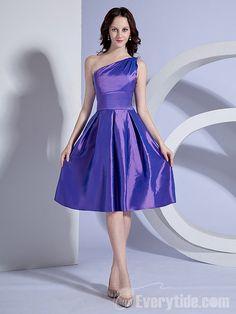 【Everytide.com Bridesmaid Dress】Wholesale A Line One Shoulder Taffeta Bridesmaid Dresses