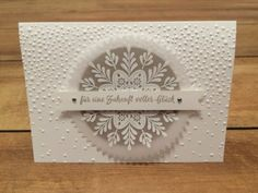 Frosted medallion embossed on vellum Xmas Cards, Holiday Cards, Greeting Cards, Cards Diy, Stampin Up Christmas, Christmas 2016, Winter Karten, Stampin Up Weihnachten, Beautiful Christmas Cards