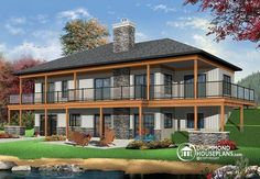 W3967 - Lakefront House Plan, 4 Bedrooms, Open Floor Plans, Large Covered…