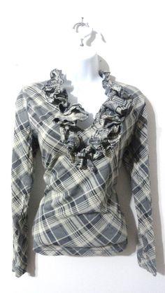 Lauren Ralph Lauren Flannel Top Shirt Ruffle Blouse Checkered Medium M #LaurenRalphLauren #Blouse
