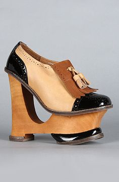 The Cooper Shoe in Black Patent and Tan by Jeffrey Campbell