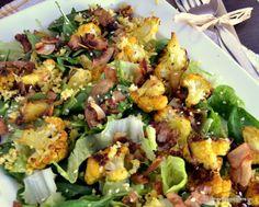 Πράσινη σαλάτα με κουνουπίδι κ μπέικον καρύδας