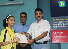 YoChamp, Kritika Bhatt receiving award for winning with 21-11, 21-7 in Girls Singles U13 YoGems Badminton Championship series,Noida.