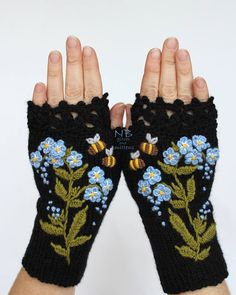 Hand Knitted Fingerless Gloves, Gloves & Mittens, Gift Ideas, For Her, Winter Accessories, Black, Blue, Bees, Forget-Me-Not, Flowers, Elegant, Embroidery, Hand Crocheted Lace, Cozy, Handmade Accessories, For Women, Women These unique hand knitted accessory can be a wonderful