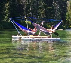 This Hammock Boat Lets You Relax In Up To 4 Hammocks While Floating On a Lake or. This Hammock Boa Pontoon Boat, Boat Dock, Canoa Kayak, Sports Nautiques, Lakefront Property, Pool Floats, Lake Floats, Seen, Lake Life