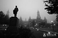 Beautiful shot of the #Baylor University campus, even on an otherwise dreary day. #sicem