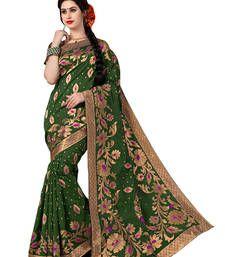 Buy Green woven banarasi saree With Blouse banarasi-silk-saree online