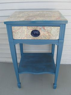 Decoupage recycled maps side table night stand painted with Miss Mustard Seeds Milk Paint.