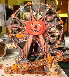 Leann's amazing Halloween Ferris Wheel using designs from SVGCuts and Graphic45 paper <3