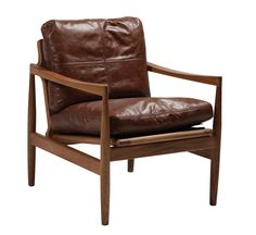 HERMES lounge chair in brown leather and massive walnut legs #NewClassic #StyleHome #DanishFurniture #HomeDecor #DanForm #ClassicFurniture #Walnut