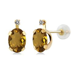 1.41 Ct Oval Whiskey Quartz White Diamond 14K Yellow Gold Earrings. This item is proudly custom made in the USA. 100% Satisfaction Guaranteed. Gemstones may have been treated to improve their appearance or durability and may require special care.