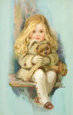 John Frederick Lloyd Strevens - little girl with her teddy bear