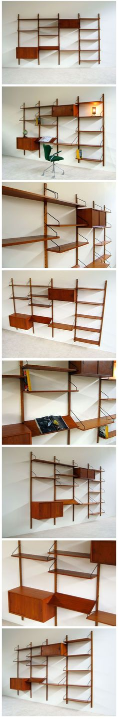 Danish modern teak floating wall unit Designed by Poul Cadovius for ROYAL SYSTEM