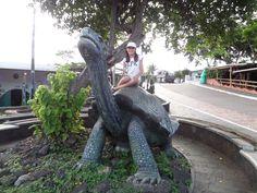 Paseando por las calles de las Islas #Galápagos te puedes encontrar con la estatua del legendario George, la Tortuga Gigante de Galápagos