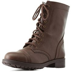 Charlotte Russe Lace-Up Combat Boots (€35) ❤ liked on Polyvore featuring shoes, boots, ankle booties, chunky booties, brown ankle booties, brown military boots, combat booties and lace up combat boots