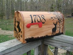 Silhoette Deer mailbox Wood Print by Jena Gillam. All wood prints are professionally printed, packaged, and shipped within 3 - 4 business days and delivered ready-to-hang on your wall. Choose from multiple sizes and mounting options. Rustic Mailboxes, Wooden Mailbox, Unique Mailboxes, Painted Mailboxes, Diy Mailbox, Mailbox Decals, Funny Mailboxes, Mailbox Stand, Vintage Mailbox