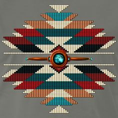 Native American style totem mandala featuring a centered turquoise turtle, with mock hawk feathers, seed bead southwestern motif, on a leather braid shield. Native American Regalia, Native American Patterns, Native American Design, Native American Beadwork, Native American Fashion, Native Beading Patterns, Beadwork Designs, Native Beadwork, Bead Loom Patterns