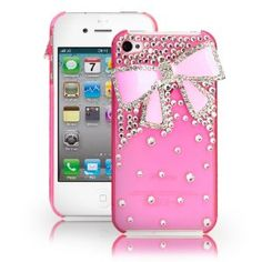Birthday gift:Fosmon 3D Bling Crystal Design Case with Pink Rhinestone Bow for iPhone 4/4S - Pink