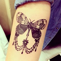 """Moth or butterfly """"Tattoo done by Sara Fabel. @sarafabel """""""