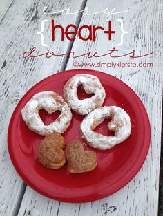 9261ba2b97172 Heart donuts cut from refrigerator biscuits! What a cute easy idea  ) Diy  Valentine s