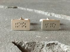 Long Distance Relationship Cufflinks, Longitude and Latitude, Destination Wedding Gifts for Grooms, Coordinates, Children's Birthplace by SilverSculptor on Etsy