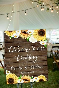 A gorgeous way to greet your guests with this sunflower wedding welcome sign! Rustic Wedding, Sunflower Wedding, Custom Wedding Welcome SignsBest Picture For Sunflower Wedding country For Your TasteYou are looking for something, and it is going to Sunflower Wedding Decorations, Sunflower Wedding Invitations, Printable Wedding Invitations, Wedding Invitation Sets, Sunflower Wedding Cupcakes, Fall Sunflower Weddings, Event Invitations, Invitations Online, Country Wedding Invitations