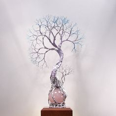 Wire Tree Of Life sculpture Rose Quartz Sphere by CrowsFeathers