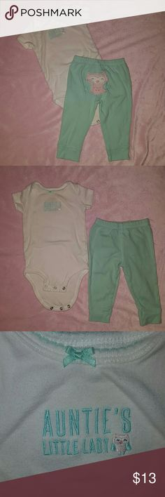 "🐘""Aunties Little Lady"" 6M Baby Girl Outfit 💦Clothes washed in dye free detergent and layed flat to dry. 💲Bundle and save with other cute baby girl items in my closet 🚫Sorry, No Trades🛇 AND LASTLY, HAPPY POSHING 😊😊😊 Matching Sets"