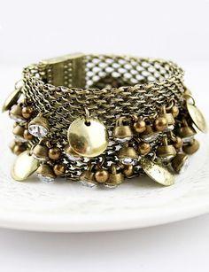 Gold Bell Crystal Chain Link Bracelet