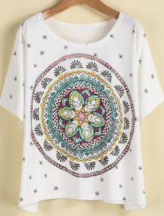 Camiseta suelta Vintage Floral-blanco 8.49