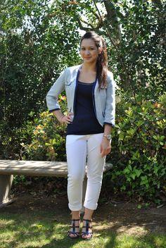 Blue Tweed Jacket, blue shirt, white jeans
