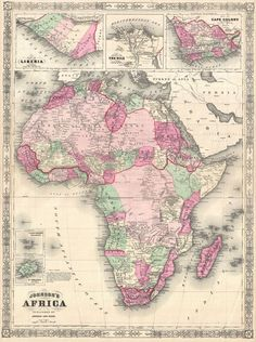 This map of Africa was made in 1864 by American cartographer A. J. Johnson. The mid-1800s were golden years for European exploration of inland Africa; the continent's interior is far more detailed on this map than on others made just 10 years...