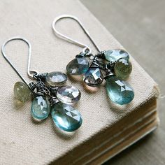 Moss Aquamarine Labradorite Earrings Dark Oxidized by TforEdgar, $125.00