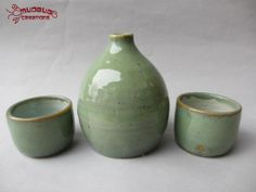 Sake Set  Green and Baby Blue by MudbugCreations on Etsy, $32.00