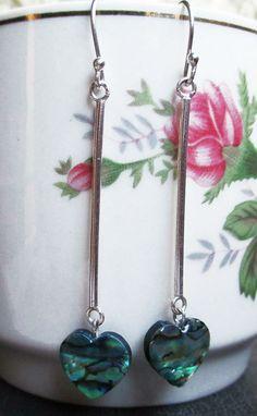 New earring model Heart. Silver 950 and heart the Abalon Shell. #HandMade
