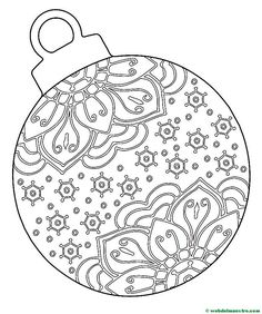 Bola de Navidad Christmas Ornament Coloring Page, Christmas Ornament Template, Painted Christmas Ornaments, Christmas Images, Christmas Colors, Christmas Art, Machine Embroidery Projects, Embroidery Patterns, Colouring Pages