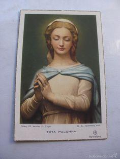 ESTAMPA RELIGIOSA TOTA PULCHRA COLEGIO PP. JESUITAS S.CUGAT