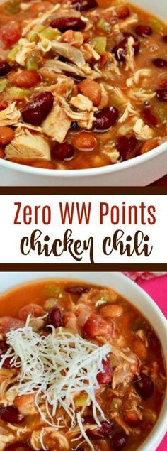 Zero Points Slightly Spicy Chicken Chili Recipe - so tasty and comforting (with zero ww points!) #chicken #chili #recipe #easy #dinneridea #chilibeans Chicken Chili, Chili Recipes, Spicy, Soup, Soups, Chilli Recipes