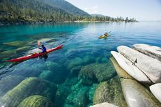 Kayak Lake Tahoe Explore 235 Flat Water Paddling Destinations in California… Lago Tahoe, Travel Sights, Places To Travel, Serra Nevada, The Places Youll Go, Places To Visit, Kayak Rentals, Kayak Adventures, Whitewater Rafting